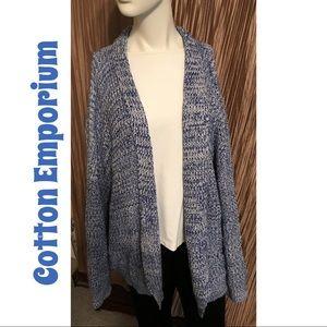 Cotton Emporium Long Open Cardigan Sweater 2X
